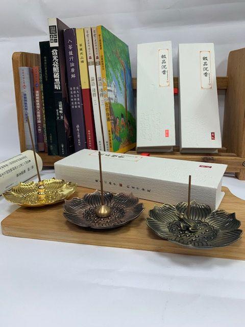 熏香組合 蓮花銅香盤+香插+極品臥香一盒
